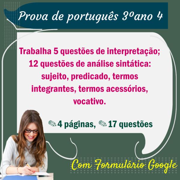 Prova de português – 3º ano 4
