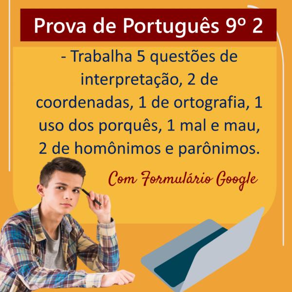 Prova de português – 9º ano 2